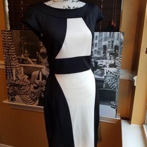 Maggy London Black/White Color Block Dress
